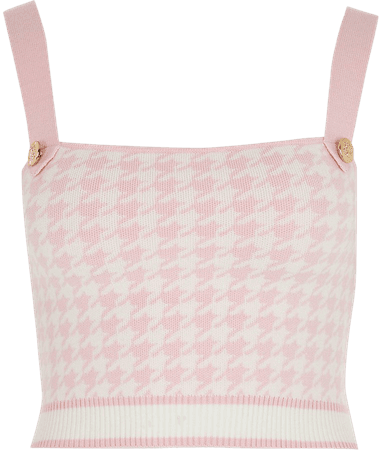 Pink houndstooth knit crop cami top | River Island
