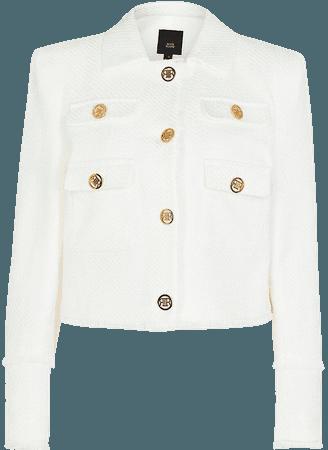 River Island white boucle blazer