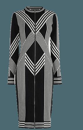 Abstract Jacquard Zip Through Knitted Dress | Karen Millen