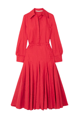 Marion Belted Pleated Cotton-blend Moire Midi Dress - Red