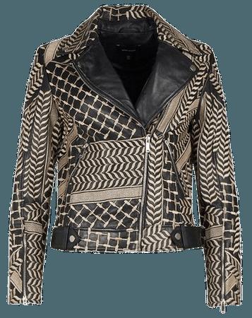 Leather Statement Embroidery Biker Jacket | Karen Millen
