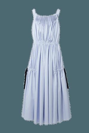 Gathered Pleated Cotton-blend Poplin Midi Dress - Light blue