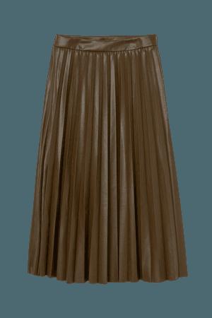 Faux Leather Skirt - Khaki green - Ladies | H&M US