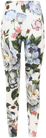 Trousers and Shorts | Dolce&Gabbana - Magnolia-print run-resistant jersey leggings