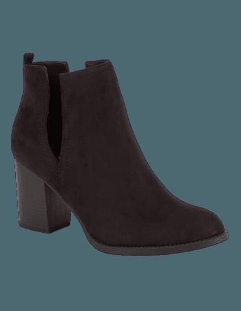SODA Faux Suede Side Slit Womens Booties - BLACK - 294729100   Tillys