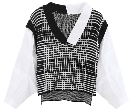 Bubble-Sleeve Splicing Hi-Lo Shirt Sweater in Black - Retro, Indie and Unique Fashion
