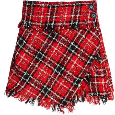 Frayed plaid skirt - Skirts - Woman | Bershka