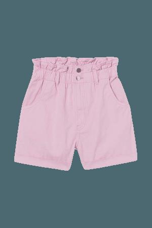 Cotton Paper-bag Shorts - Light pink - Ladies | H&M US