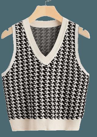 Allover Pattern Sweater Vest | SHEIN USA cream