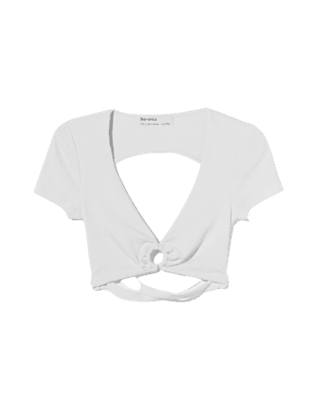 Ring T-shirt with an open back - Tees and tops - Woman | Bershka