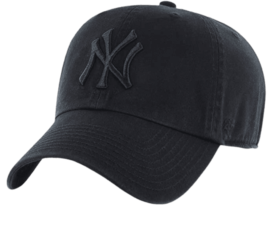 Amazon.com : '47 New York Yankees Strapback Brand Clean Up Adjustable Cap Hat (Black on Black) : Sports Fan Baseball Caps : Clothing