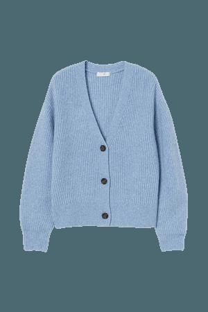 Rib-knit Cardigan - Blue