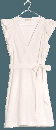 Ruffle-Sleeve Wrap Mini Dress