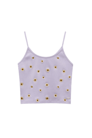 Crop top with straps and embroidered sunflowers - pull&bear