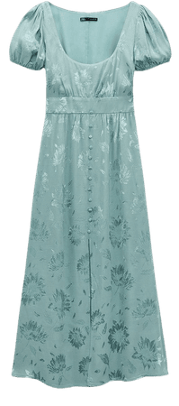 FLORAL JACQUARD sage babydoll retro girly 40s DRESS | ZARA United States