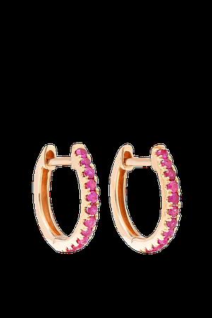 Rose gold Huggies 18-karat rose gold ruby earrings | Anita Ko | NET-A-PORTER
