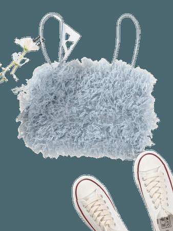 Fuzzy Solid Crop Cami Top | SHEIN USA blue