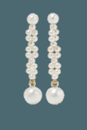 Gold Tressé 14-karat gold pearl earrings | SOPHIE BILLE BRAHE | NET-A-PORTER