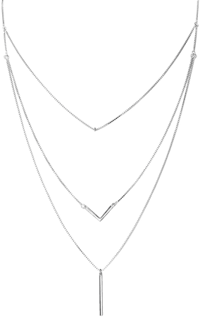 """Amazon.com: S925 Sterling Silver Triple Layer Pendant Choker Necklace for Women 16""""+2"""": Clothing"""