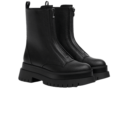 Embossed platform boots with zip-up front - Shoes - Woman | Bershka