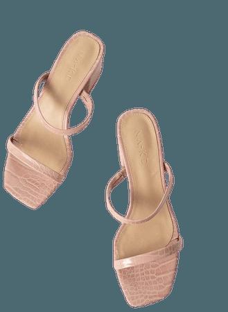 Croc Squared Strap Sandals Pink   na-kd.com