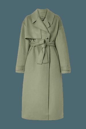 Sabe Belted Wool-blend Felt Coat - Gray green