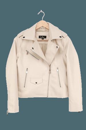 Beige Moto Jacket - Vegan Leather Jacket - Motorcycle Jacket - Lulus