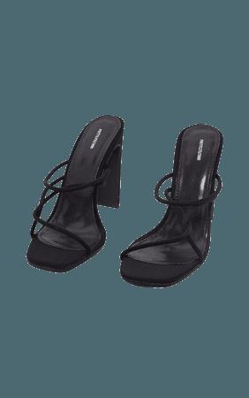 Black Flat Heel Tube Strappy Mule Sandal | PrettyLittleThing
