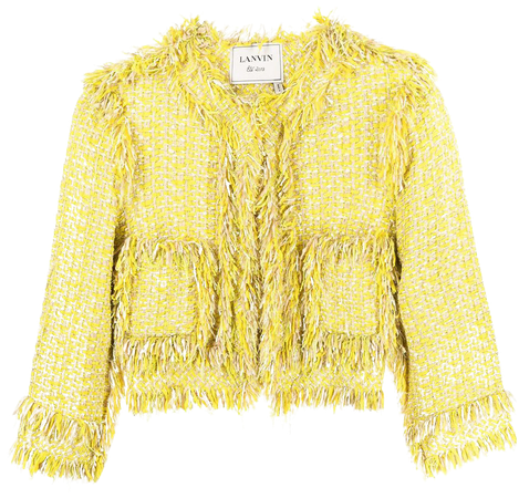 LANVIN Pre-Owned Collarless Tweed Jacket - Farfetch