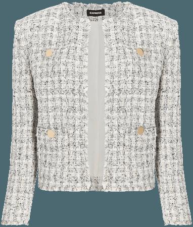 Padded Shoulder Tweed Blazer | Express