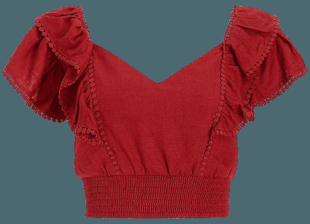 Linen-blend Tie Back Ruffle Top   Express