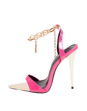 Public Desire Triumph heeled sandals with padlock anklet in pink | ASOS