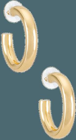 BaubleBar Dalilah Medium Tube Hoop Earrings in Gold | REVOLVE