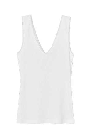 Ribbed Lace-trimmed Tank Top - White