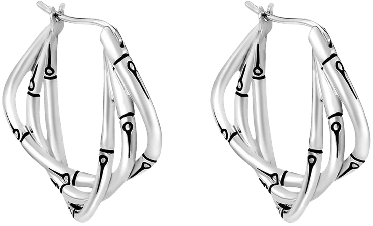 Shop John Hardy silver Bamboo hoop earrings with Express Delivery - FARFETCH