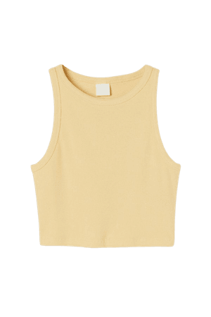 Ribbed Crop Top - Light yellow - Ladies | H&M US