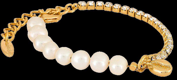 Ettika Half Pearl Bracelet in Gold | REVOLVE