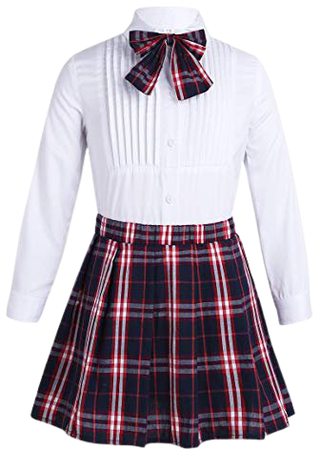 iEFiEL Kids Girls' School Uniform Outfits Lapel Long Sleeves Pleated Shirt Plaid Skirt Bow Tie 3PCS Set White&Blue 3-4 Years: Amazon.co.uk: Shoes & Bags