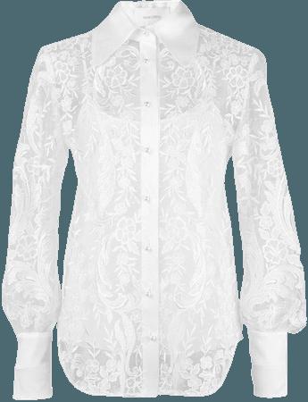 Marchesa Pearl Button Lace Shirt