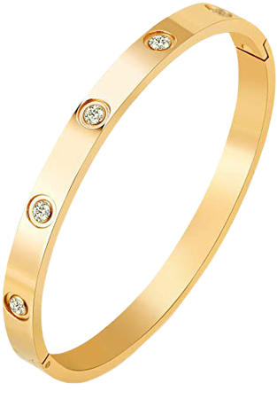Amazon.com: MVCOLEDY Jewelry 18 K Gold Plated Bangle Bracelet CZ Stone Hinged Stainless Steel with Crystal Bangle for Women Size 6.7 Inches: Jewelry