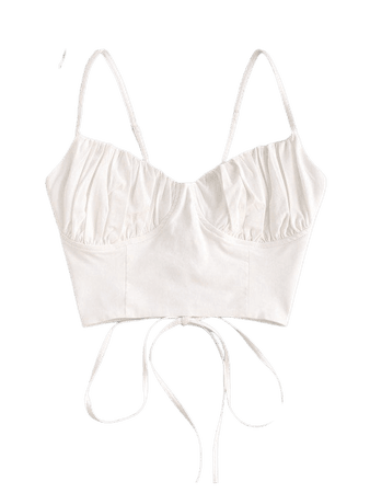 [35% OFF] 2020 Ruched Lace-up Bustier Cami Top In WHITE   ZAFUL