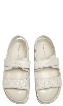 Flat sandals with quilted straps - pull&bear