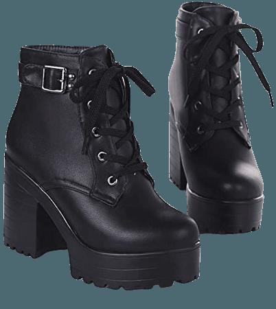Amazon.com   Latasa Women's Lace up Block Heel Platform Ankle Boots   Ankle & Bootie
