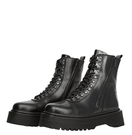 Lace-up leather flat black boots | The Kooples
