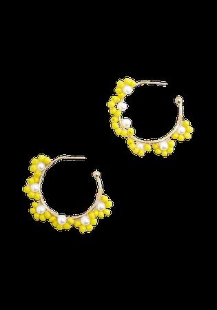 Spring Has Sprung Hoop Earrings Yellow   ModCloth