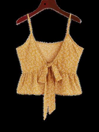[43% OFF] [HOT] 2020 ZAFUL Ditsy Print Bowknot Peplum Camisole In YELLOW   ZAFUL