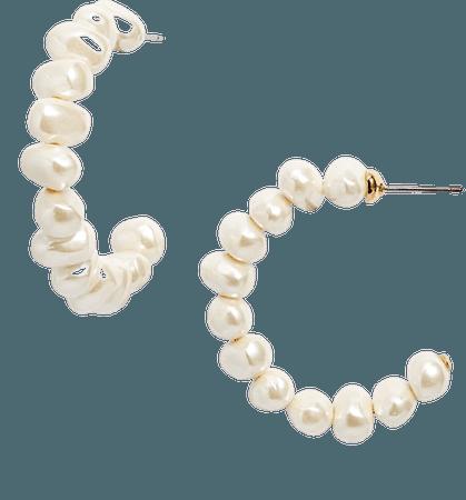 Lele Sadoughi Imitation Pearl Hoop Earrings | Nordstrom