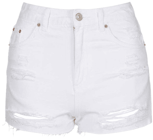 distressed white jean denim shorts