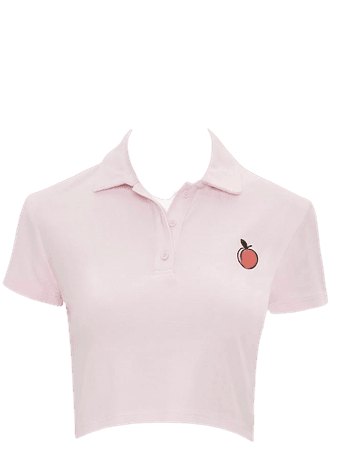Peach Graphic Cropped Polo Shirt | Forever 21