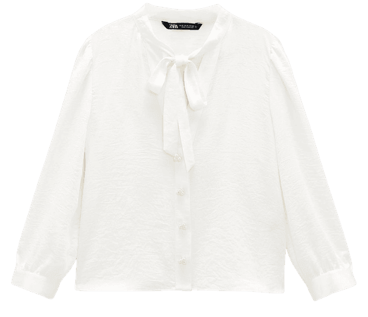 PEARL BUTTON BOW TOP | ZARA United States